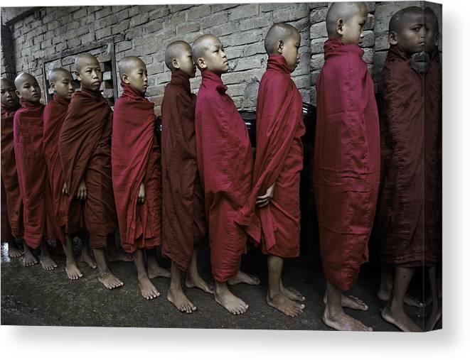 Southeast Asia Canvas Print featuring the photograph Rangoon Monks 1 by David Longstreath
