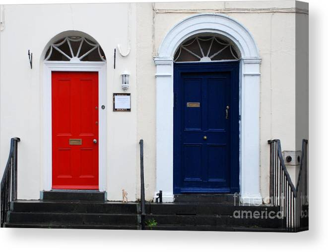 Red Door Canvas Print featuring the photograph Red And Blue Doors by Joe Cashin