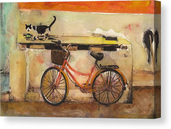 Painting  Canvas Print featuring the painting Red Bicycle And Cat by Susan Powell