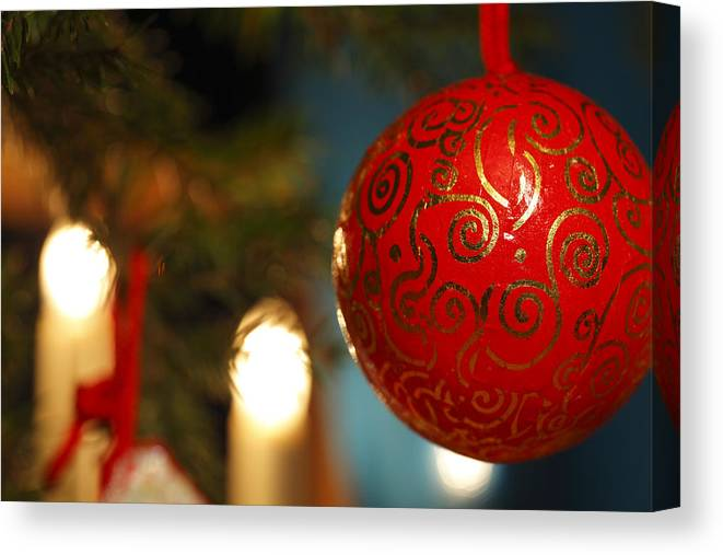 Ball Canvas Print featuring the photograph Red Christmas Bauble - Available For Licensing by Ulrich Kunst And Bettina Scheidulin