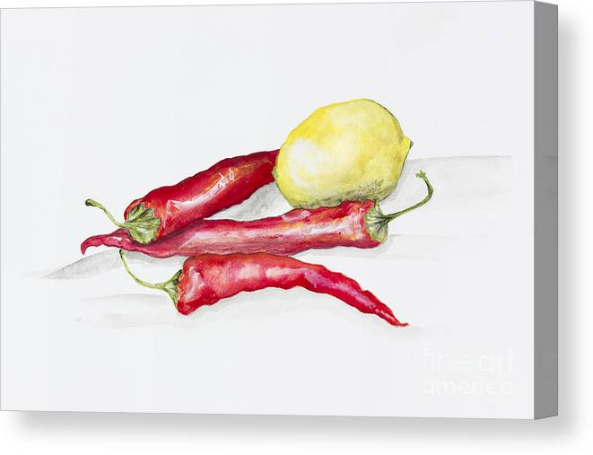 Peppers Canvas Print featuring the painting Red Hot Chili Peppers And Lemone by Irina Gromovaja