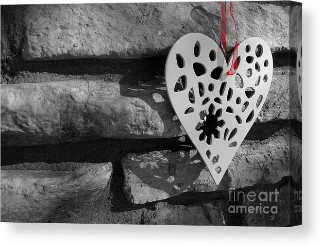 Love Canvas Print featuring the photograph Red Ribbon Heart by Kerri Mortenson