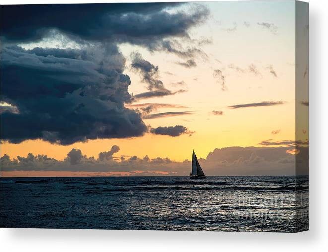 Pacific Ocean Canvas Print featuring the photograph Sails In The Sunset by Jon Burch Photography