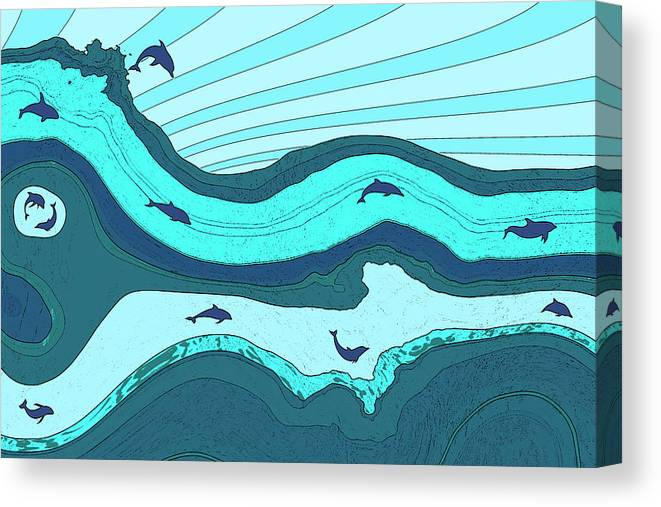 Dolphins Canvas Print featuring the digital art Riding The Current by David G Paul