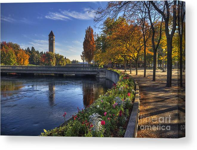 Clock Tower Canvas Print featuring the photograph Riverfront Park - Spokane by Mark Kiver