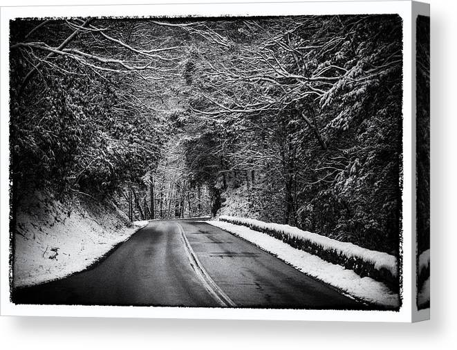 Ice Canvas Print featuring the photograph Road Through Dark Snowy Forest E93 by Wendell Franks