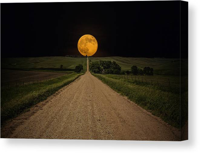 Road To Nowhere Canvas Print featuring the photograph Road To Nowhere - Supermoon by Aaron J Groen