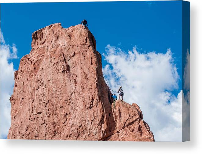 Abseiling Canvas Print featuring the photograph Rock Climbing by Amel Dizdarevic