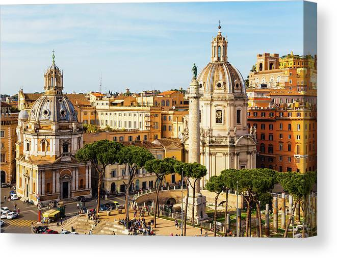 Photography Canvas Print featuring the photograph Rome, Italy. Rome, Italy. Piazza Della by Panoramic Images