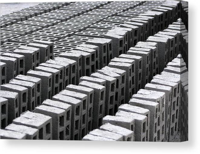 Brick Canvas Print featuring the photograph Rows Of Concrete Bricks Drying by Robert Hamm