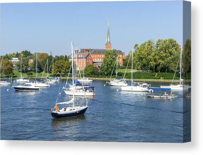 Water Canvas Print featuring the photograph Sailboats By Charles Carroll House by Charles Kraus