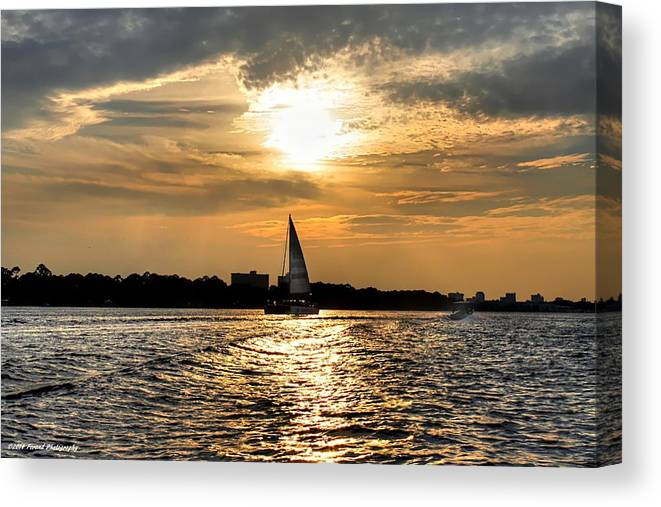 Sunset Canvas Print featuring the photograph Sailing Into The Sunset by Debra Forand