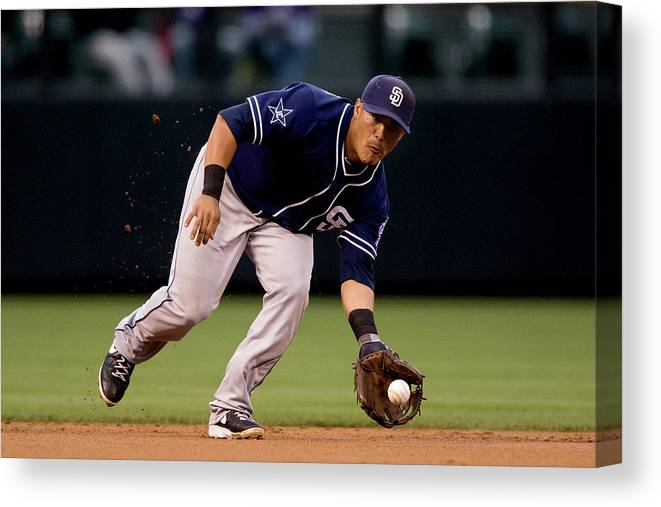 Ball Canvas Print featuring the photograph San Diego Padres V Colorado Rockies by Justin Edmonds