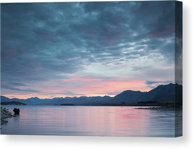 Photography Canvas Print featuring the photograph Scenic View Of Lake At Dusk, Lake by Panoramic Images