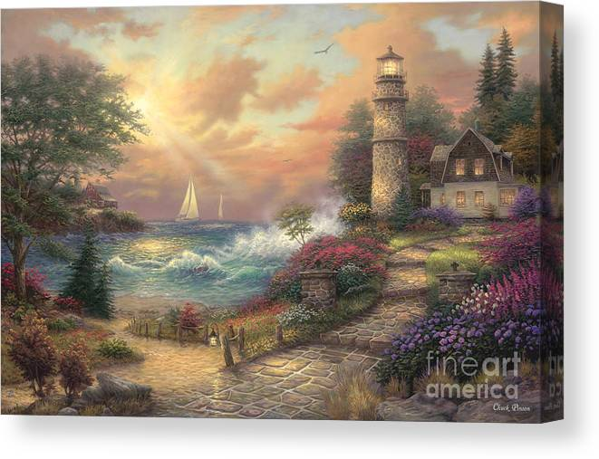 Lighthouse Canvas Print featuring the painting Seaside Dream by Chuck Pinson
