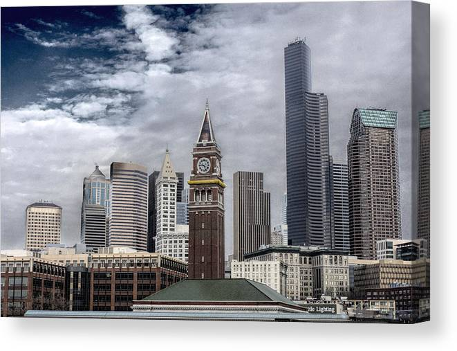 Downtown Seattle Washington Canvas Print featuring the photograph Seattle Downtown by Steve Leach