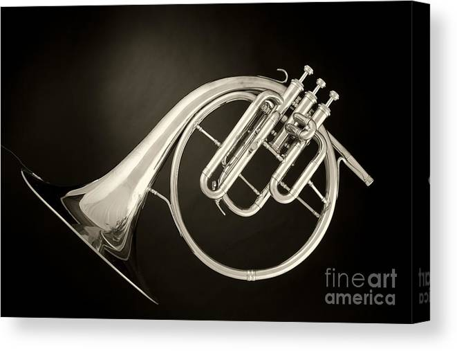 Sepia Color Canvas Print featuring the photograph Sepia Tone Classic Antique French Horn 3022.01 by M K Miller