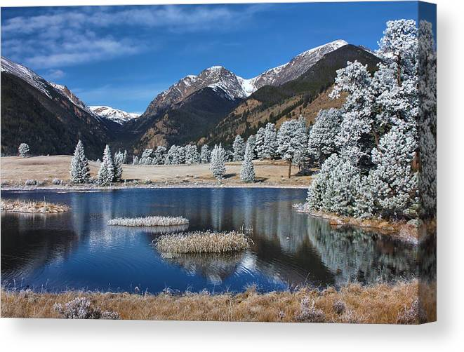 Landscape Canvas Print featuring the photograph Sheep Lakes In Late October by Darrell E Spangler