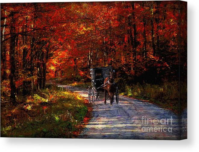 Canvas Print featuring the digital art Simpler Times by Lianne Schneider