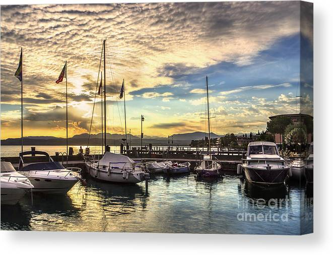 Sirmione Sunset Canvas Print featuring the photograph Sirmione Sunset by Karen Ann Jones