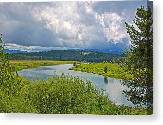 Snake River By Oxbow Bend In Grand Teton National Park Canvas Print featuring the photograph Snake River By Oxbow Bend In Grand Teton National Park-wyoming by Ruth Hager