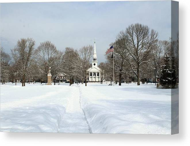 Guilford Green Canvas Print featuring the photograph Snow Covered Guilford by Catie Canetti