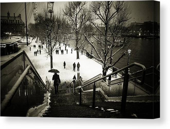 london Eye Canvas Print featuring the photograph Snow In London by Lenny Carter