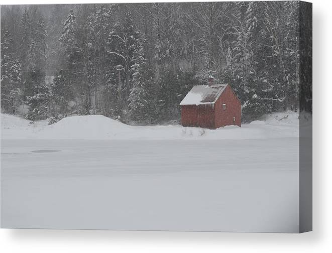 Landscape Canvas Print featuring the photograph Snowmaking Pond by Judy Harris