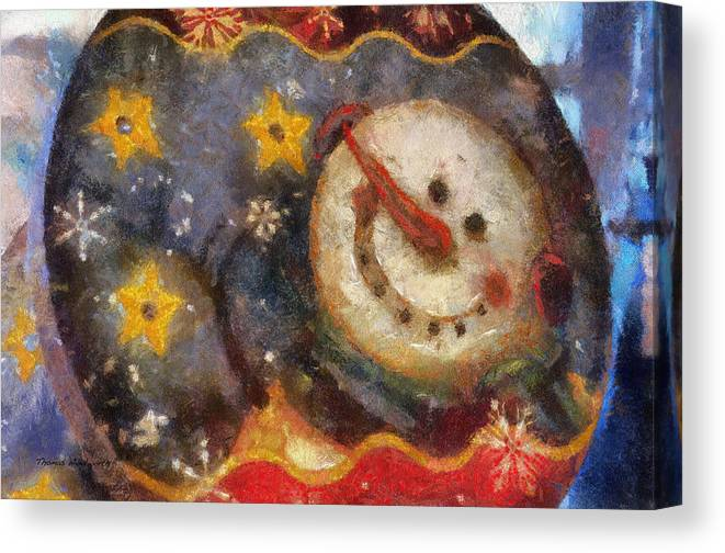 Winter Canvas Print featuring the photograph Snowman Photo Art 07 by Thomas Woolworth