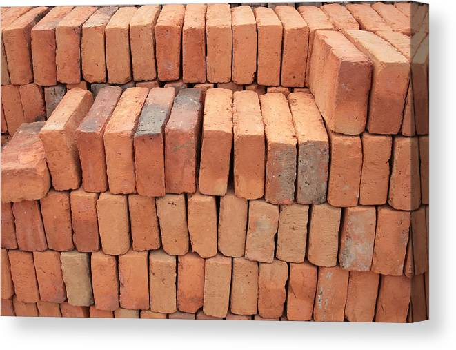 Adobe Canvas Print featuring the photograph Stacked Adobe Bricks by Robert Hamm