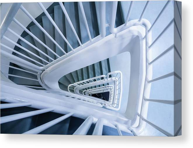Photography Canvas Print featuring the photograph Staircase, Reykjavik Library by Panoramic Images