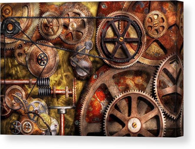Steampunk Canvas Print featuring the photograph Steampunk - Gears - Inner Workings by Mike Savad