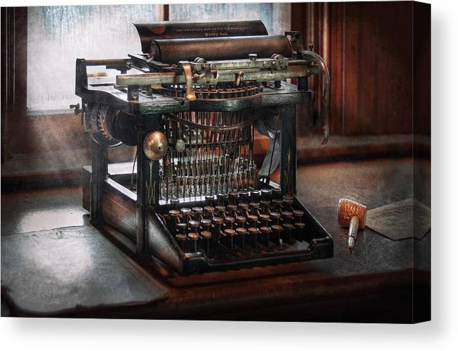 Writer Canvas Print featuring the photograph Steampunk - Typewriter - A Really Old Typewriter by Mike Savad