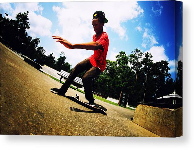 Skateboarding Canvas Print featuring the photograph Step Off by Mick Logan