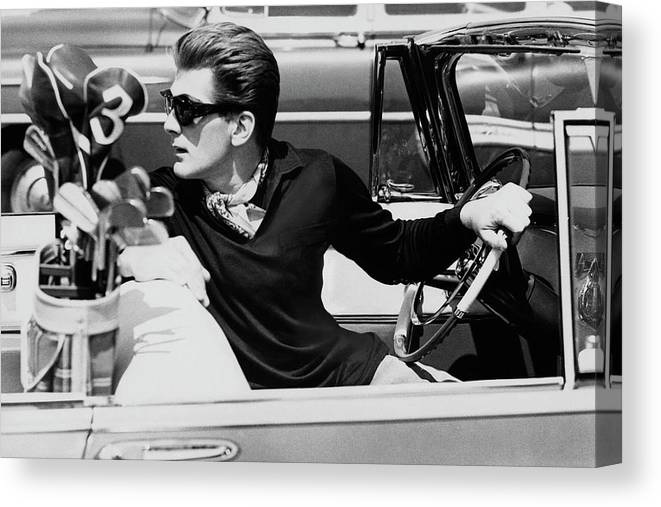 Entertainment Canvas Print featuring the photograph Steve Holland In A Chrysler New Yorker by Paul Himmel