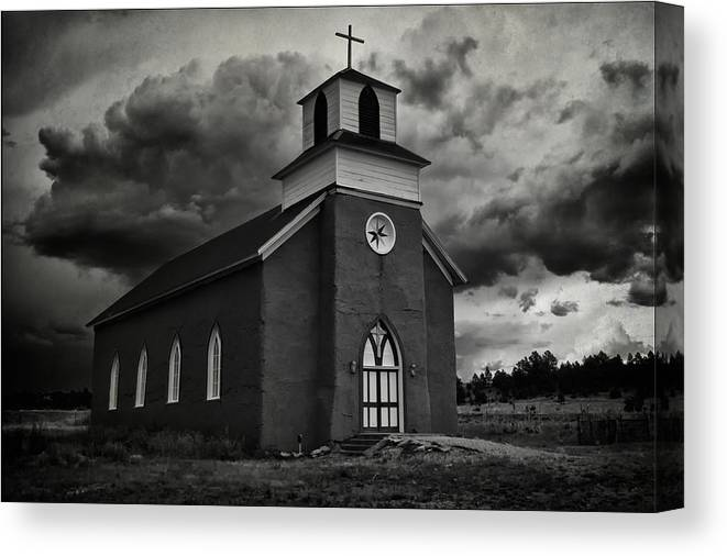 Restored San Rafael Church Canvas Print featuring the photograph Storm At San Rafael Church by Priscilla Burgers