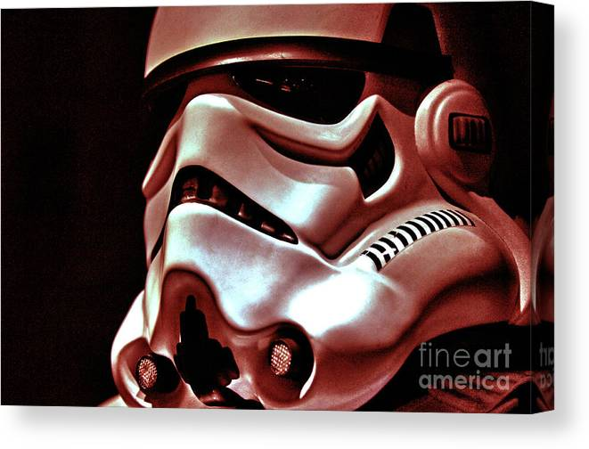 Stormtrooper Canvas Print featuring the photograph Stormtrooper Helmet 26 by Micah May