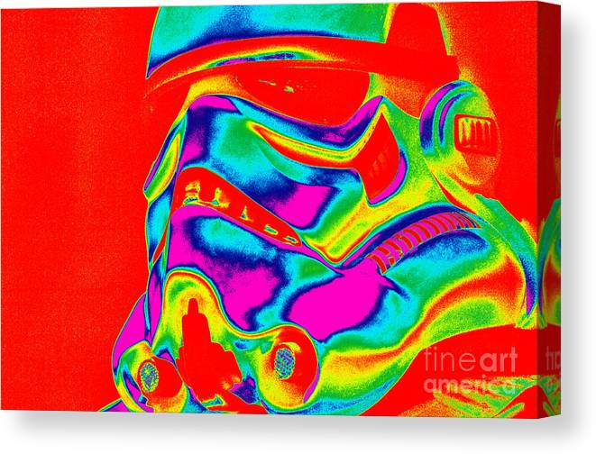 Stormtrooper Canvas Print featuring the photograph Stormtrooper Helmet 28 by Micah May