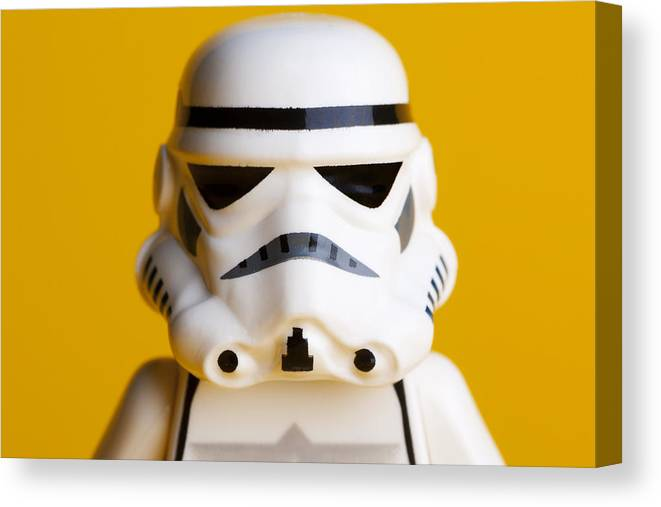 Lego Canvas Print featuring the photograph Stormtrooper Portrait by Samuel Whitton