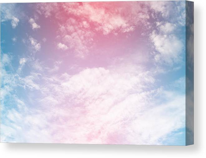 Sun And Cloud Background With A Pastel Color Canvas Print