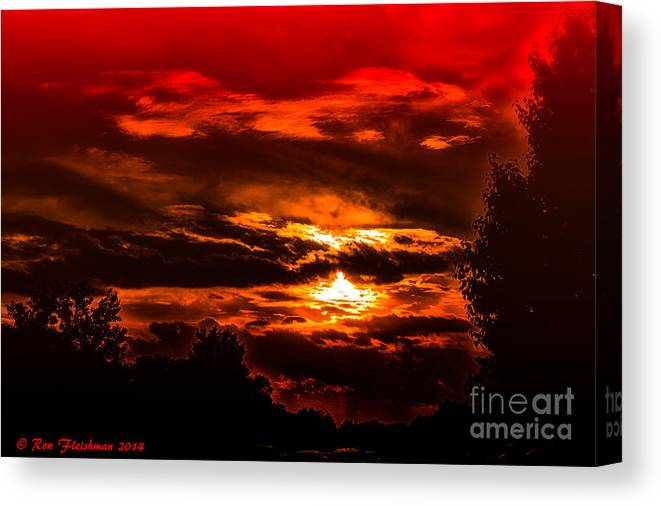 Sunset Cloudy Stormy Ominous Landscape Nature Colorful Contrasts Silhouettes Trees Sky Dusk Reds Oranges Golds Photo Art Canvas Print featuring the photograph Sunset Before The Storm by Ron Fleishman