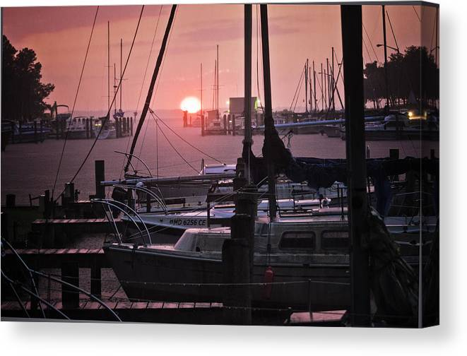 Harbor Canvas Print featuring the photograph Sunset Harbor by Kelly Reber