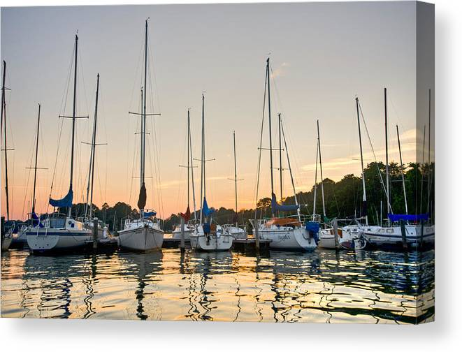 Sailboats Canvas Print featuring the photograph Sunset Masts by Lori Douthat