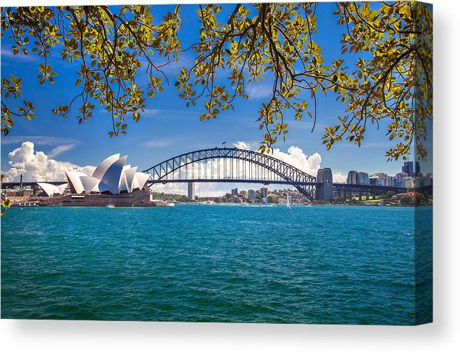 Sydney Canvas Print featuring the photograph Sydney Harbour Skyline 2 by Az Jackson