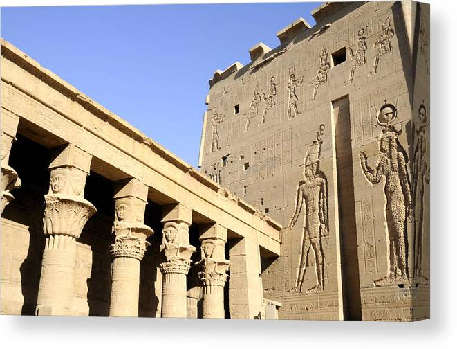 Philae Canvas Print featuring the photograph Temple At Philae In Egypt by Brenda Kean