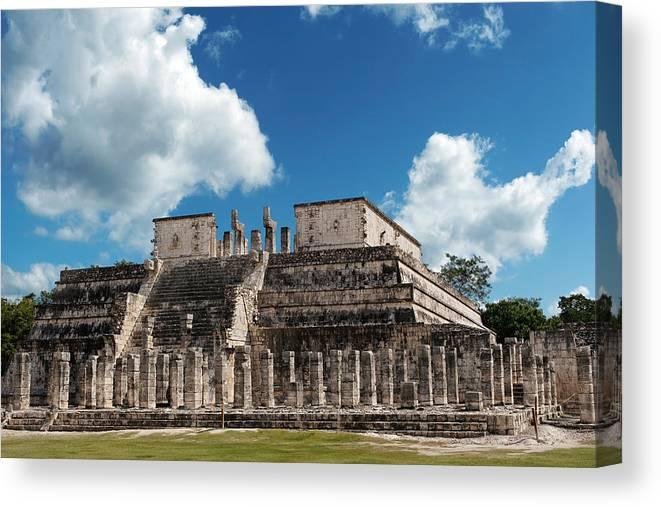 Chichen Itza Canvas Print featuring the photograph Temple Of The Warriors by Jo Ann Snover
