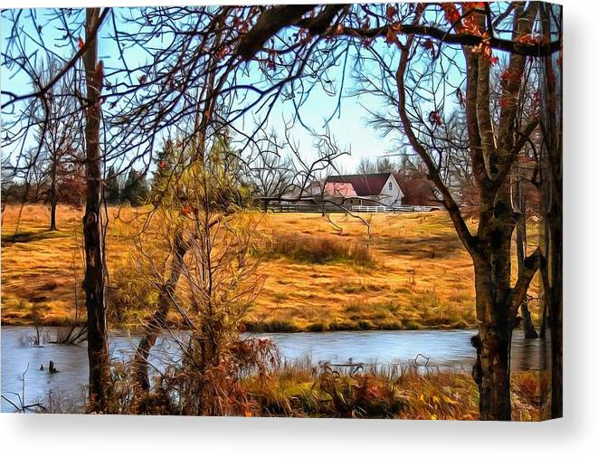 Barn Canvas Print featuring the photograph The Barn In Autumn by CarolLMiller Photography