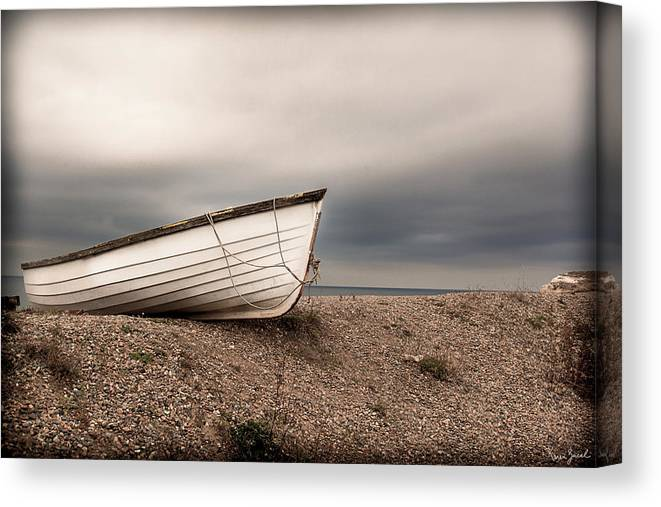 Boat Canvas Print featuring the photograph The Boat On Shore by Karen Varnas