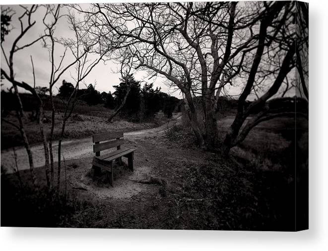 Brooding Canvas Print featuring the photograph The Brooding Bench by David DeCenzo