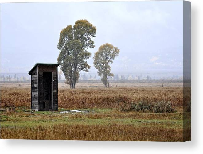 Jackson Hole Canvas Print featuring the photograph The Country Outhouse by Image Takers Photography LLC - Laura Morgan
